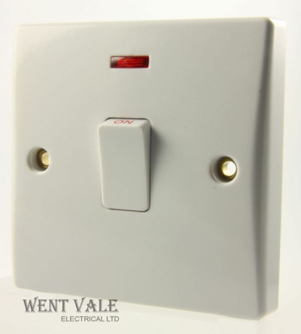 GET Ultimate Slimline - GU2014 - White Moulded 20a Double Pole Switch With Neon & Flex Outlet New